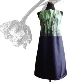 "Kollektion ""Sommer in the City""<br /> Kleid mit Tulpen Handgemalt"